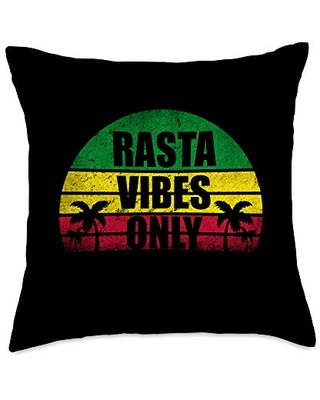 Rasta Vibes Only Accessories Co Rasta Vibes Only Jamaican Reggae Throw Pillow, 18x18, Multicolor