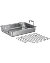 Tramontina Gourmet Prima 13.5 Roasting Pan with Basting Grill, Silver