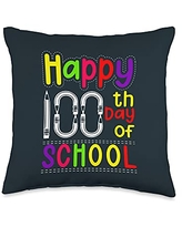 Back To School Apparel.USA Happy 100 Day of School Celebration Teacher Kids Students Throw Pillow, 16x16, Multicolor