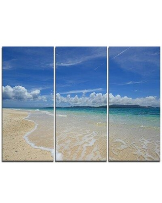 Design Art Gorgeous Beach in summertime - 3 Piece Photographic Print on Wrapped Canvas Set PT11476-3P