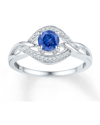 Lab-Created Sapphire 1/10 ct tw Diamonds Sterling Silver Ring