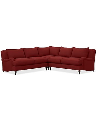 Carlisle Upholstered 3-Piece L-Shaped Corner Sectional, Down Blend Wrapped Cushions, Twill Sierra Red