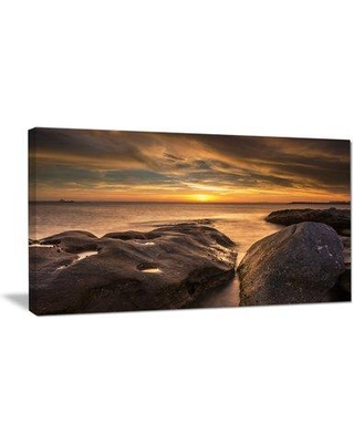 Design Art Rocky La Perouse Beach in Sydney Large Seashore Photographic Print on Wrapped Canvas, Canvas & Fabric in Yellow/Gray | Wayfair