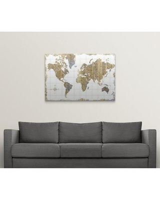 """Great Big Canvas 'Gilded Map' Graphic Art Print 2335837_1 Size: 32"""" H x 48"""" W x 1.5"""" D Format: Canvas"""