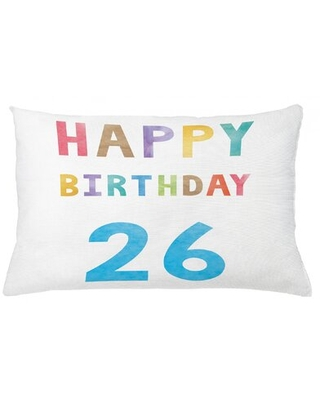 """26Th Birthday Indoor / Outdoor Lumbar Pillow Cover East Urban Home Size: 16"""" x 26"""""""