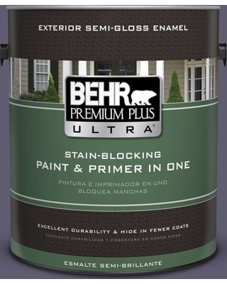 BEHR Premium Plus Ultra 1 gal. #pmd-90 Luscious Purple Semi-Gloss Enamel Exterior Paint and Primer in One