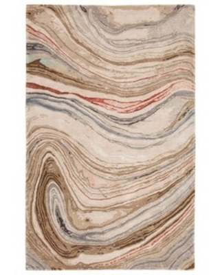 """Silver Orchid Leopoldi Handmade Abstract Area Rug (8'10""""X12'9"""" - Brown/Red)"""
