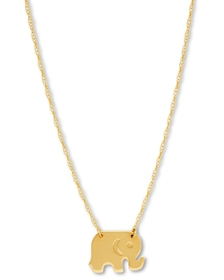 """Jared The Galleria Of Jewelry Elephant Necklace 14K Yellow Gold 16"""" Adjustable"""
