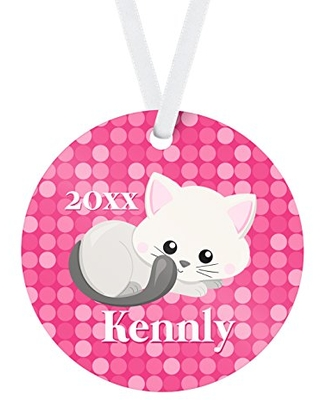 Kitten Ornament - Pink Dots Gray White Kitty Cat Christmas Tree Personalized Name Gift