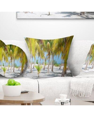 """East Urban Home Landscape Palm Trees Pillow, Product Type: Throw pillow, Polyester/Polyfill/Polyester/Polyester blend in Green, Size 18"""" x 18"""""""