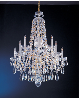 Crystorama Traditional Crystal 10-Light 35 inch Traditional Chandelier in Polished Brass with Clear Spectra Crystals