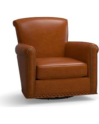 Irving Leather Swivel Armchair, Bronze Nailheads, Polyester Wrapped  Cushions, Leather Legacy Dark Caramel