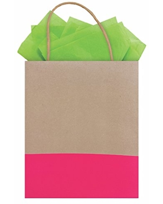 The Gift Wrap Company 6 Count Dipped Recycled Kraft Gift Bags, Zing