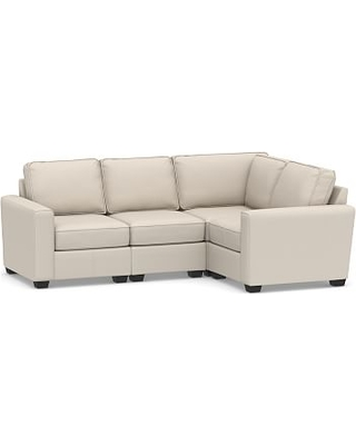 SoMa Fremont Square Arm Upholstered 4-Piece L-Shaped Sectional, Polyester Wrapped Cushions, Performance Brushed Basketweave Oatmeal