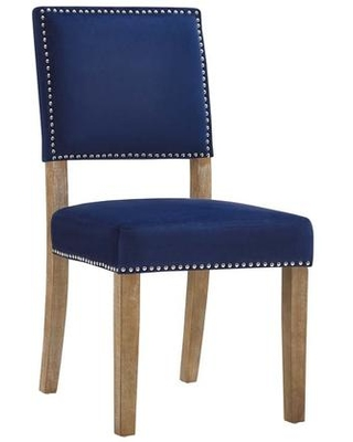 Oblige Collection EEI-2547-NAV Dining Chair with Nailhead Trim Dense Foam Padding Non-Marking Foot Caps Solid Natural Rubberwood Legs and Velvet