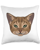 Crazy Animal World Face Cute Abyssinian Cat Breed Animal Kids Boys Throw Pillow, 18x18, Multicolor