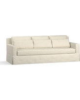 "York Square Arm Slipcovered Deep Seat Grand Sofa 94"" with Bench Cushion, Down Blend Wrapped Cushions, Basketweave Slub Oatmeal"