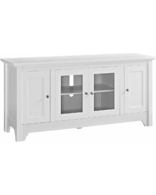 """52"" Wood TV Media Stand Storage Console in White - Walker Edison W52C4DOWH"""