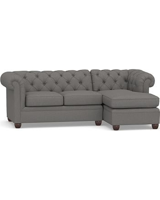 Chesterfield Upholstered Left Arm 2-Piece Sectional with Chaise, Polyester Wrapped Cushions, Performance Brushed Basketweave Slate