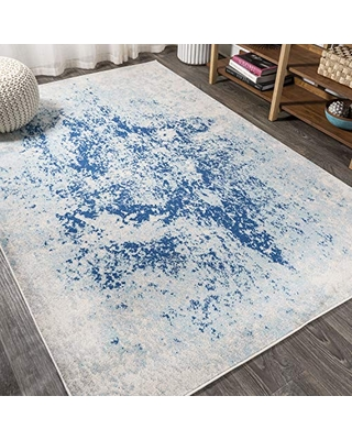 JONATHAN Y Dune Modern Abstract Cream/Blue 3 ft. x 5 ft. Area Rug, Vintage, Easy Cleaning, For Bedroom, Kitchen, Living Room, Non Shedding (CTP109B-3)