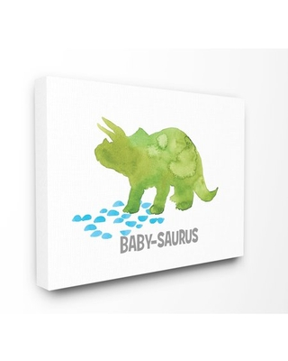 The Kids Room by Stupell Baby Saurus Triceratops Dinosaur Watercolor Stretched Canvas Wall Art, 16 x 1.5 x 20