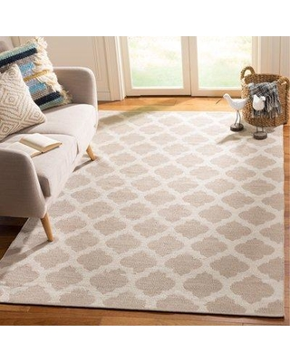 Charlton Home® Romona Hand-Knotted Cotton Gray/Ivory Area Rug DISM2596 Rug Size: Rectangle 5' x 8'