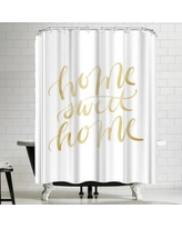 East Urban Home Jetty Printables Gold Home Sweet Home Typography Shower Curtain URBR5909
