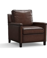 Tyler Leather Recliner with Bronze Nailheads, Polyester Wrapped Cushions, Burnished Walnut
