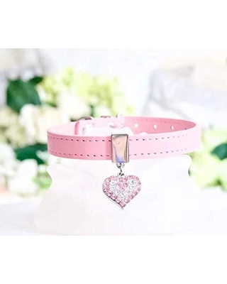 NEW! Luxury Pink Crystal Heart Dog Collar by Enchanted-Pets for Dogs, Cats, Puppies, Pets. Sizes XXS, XS, S, M.