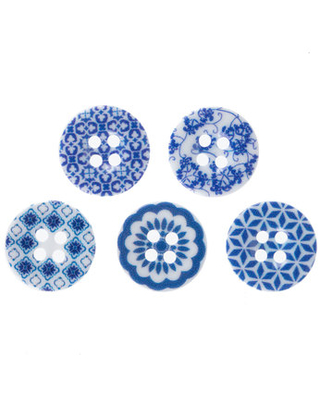 Blue Printed Buttons - 15mm