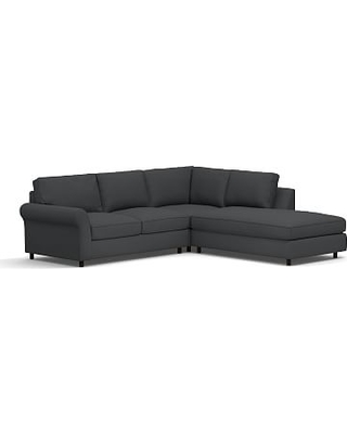 PB Comfort Roll Arm Upholstered Left 3-Piece Bumper Sectional, Box Edge Down Blend Wrapped Cushions, Premium Performance Basketweave Charcoal