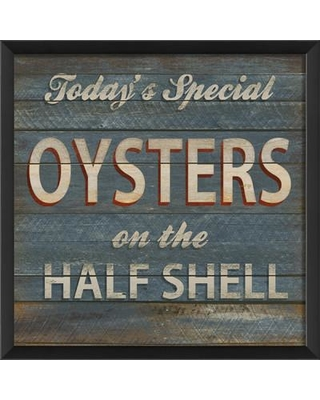 Don T Miss Deals On The Artwork Factory Oysters On The Half Shell Beach Sign Framed Textual Art Wood In Brown Blue Size Small 18 24 Wayfair 91832