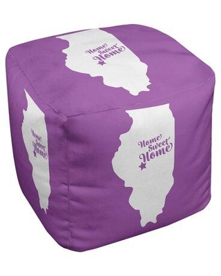 East Urban Home Home Sweet Springfield Il Cube Ottoman EBJC3210 Upholstery Color: Violet