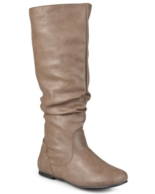 Womens Wide-Calf Slouch Riding Mid-Calf Boots
