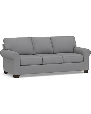 """Buchanan Roll Arm Upholstered Sofa 87"""", Polyester Wrapped Cushions, Textured Twill Light Gray"""