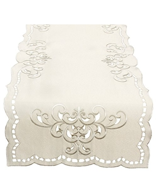 Xia Home Fashions Hampton Embroidered Cutwork Table Runner, 15 by 70-Inch, Ivory