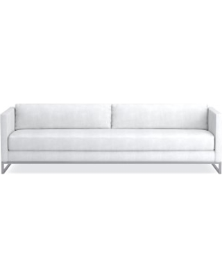 "Paxton 108"" Sofa, Standard Cushion, Chunky Linen, White, Polished Nickel"