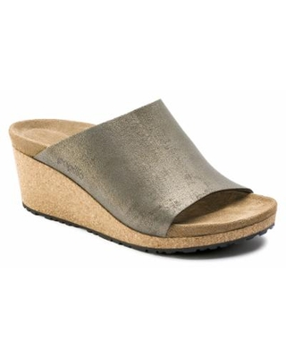 BIRKENSTOCK Spring Papillio Namica Suede Leather Washed Metallic Stone Gold Wedge Heel