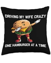 Best Sandwich & Fast Food Meat Cooking Accessories Funny Hamburger Gift For Men Papa Burger Cheeseburger Food Throw Pillow, 18x18, Multicolor