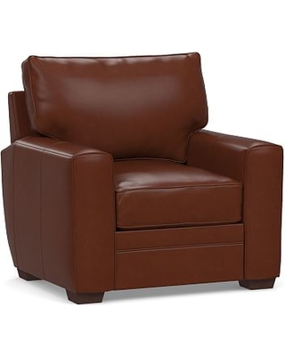 Pearce Square Arm Leather Recliner, Down Blend Wrapped Cushions, Signature Whiskey