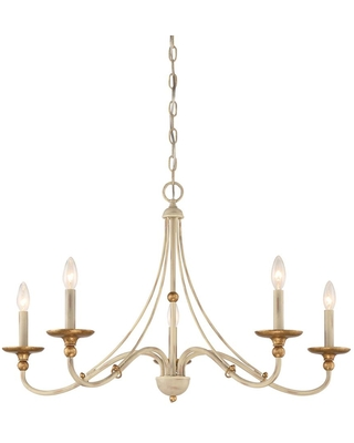 Minka Lavery Westchester County 5-Light Farm House White with Gilded Gold Leaf Chandelier