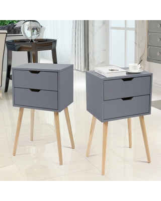 2pcs Bedroom Accent Side Table Nightstands with 2 Drawers,(Grey)