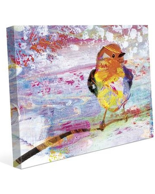 "Click Wall Art 'Amber Chickadee' Painting Print on Wrapped Canvas CLR0000159CAN Size: 8"" H x 10"" W x 0.75"" D"