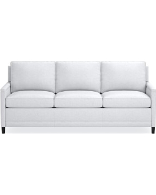 "Addison 85"" Sleeper Sofa, No Nailhead, Standard Cushion, Perennials Performance Basketweave, White, Ebony Leg"