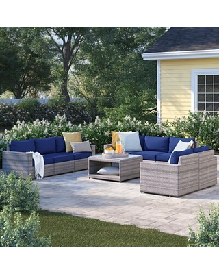 Zack Olefin 9 Piece Rattan Sofa Seating Group with Cushions