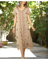 Ananda's Collection Women's Casual Dresses beige - Beige Floral Embroidered Bell-Sleeve Shift Dress - Women