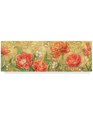 """'Red Tulips' Graphic Art Print on Wrapped Canvas Trademark Fine Art Size: 6"""" H x 19"""" W x 2"""" D"""