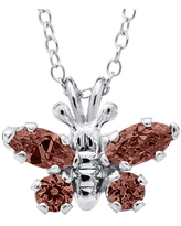 Infant Girl's Mignonette Butterfly Birthstone Sterling Silver Pendant Necklace