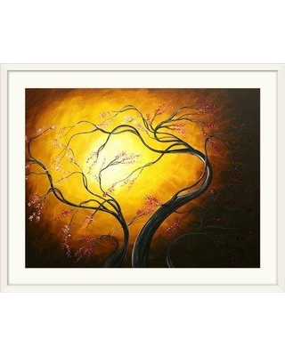 """Great Big Canvas 'Fire Blossoms' by Megan Duncanson Graphic Art Print 1162031 Size: 26"""" H x 32"""" W x 1"""" D Format: White Framed"""