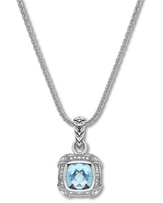 Jared The Galleria Of Jewelry Blue Topaz Necklace 1/5 ct tw Diamonds Sterling Silver